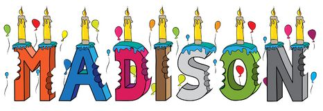 Bolo de aniversário colorido mordido nome da rotulação 3d de Madison com velas e balões ilustração do vetor