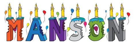 Bolo de aniversário colorido mordido nome da rotulação 3d de Manson com velas e balões ilustração stock