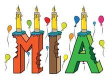 Bolo de aniversário colorido mordido nome da rotulação 3d de Mia com velas e balões ilustração do vetor