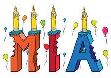 Bolo de aniversário colorido mordido nome da rotulação 3d de Mia com velas e balões ilustração royalty free