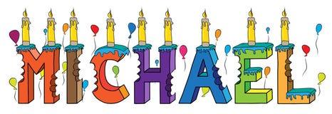 Bolo de aniversário colorido mordido nome da rotulação 3d de Michael com velas e balões ilustração royalty free