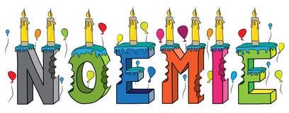 Bolo de aniversário colorido mordido nome da rotulação 3d de Noemie ilustração royalty free