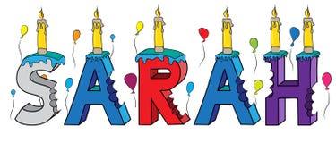 Bolo de aniversário colorido mordido nome da rotulação 3d de Sarah ilustração royalty free