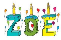 Bolo de aniversário colorido mordido nome da rotulação 3d de Zoe com velas e balões ilustração royalty free