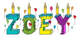 Bolo de aniversário colorido mordido nome da rotulação 3d de Zoey com velas e balões ilustração stock