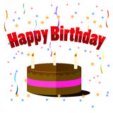 Bolo de aniversário com as velas isoladas no fundo branco Imagens de Stock Royalty Free