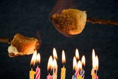 Bolo de aniversário com assado do marshmallow Imagens de Stock