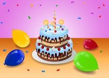 Bolo de aniversário com balão Imagem de Stock Royalty Free