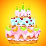 Bolo de aniversário com cerejas e citrino Imagens de Stock