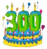 Bolo de aniversário 300 com número três cem velas, comemorando três centésimos anos de vida, balões coloridos e revestimento do c ilustração do vetor