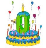 Bolo de aniversário com número zero velas, comemorando o novo começo dos balões e do revestimento zero, coloridos do chocolate ilustração stock