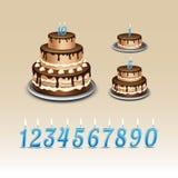 Bolo de aniversário com numerais das velas ilustração do vetor