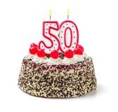 Bolo de aniversário com vela número 50 Fotografia de Stock
