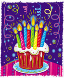 Bolo de aniversário com velas. Fotografia de Stock