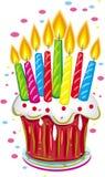 Bolo de aniversário com velas. Imagens de Stock Royalty Free