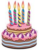 Bolo de aniversário com velas do aniversário Imagem de Stock Royalty Free