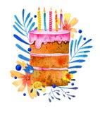 Bolo de aniversário com velas e as plantas estilizados no fundo Ilustra??o tirada m?o do esbo?o da aquarela dos desenhos animados ilustração stock