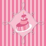 Bolo de aniversário cor-de-rosa Fotos de Stock Royalty Free