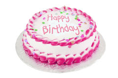 Bolo de aniversário cor-de-rosa Fotografia de Stock Royalty Free