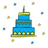 Bolo de aniversário dos desenhos animados com vela, ilustração do vetor ilustração do vetor