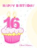 Bolo de aniversário /greeting do doce dezesseis ilustração do vetor