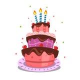 Bolo de aniversário isolado vetor dos desenhos animados com velas ilustração royalty free