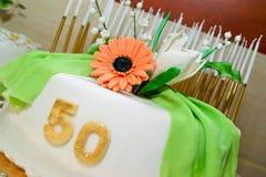 Bolo de aniversário por 50 anos de jubileu Fotografia de Stock Royalty Free