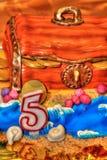Bolo de aniversário que comemora cinco anos Foto de Stock