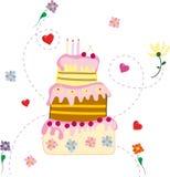 Bolo de aniversário de tiragem com crosta de gelo cor-de-rosa em um fundo branco ilustração do vetor