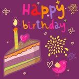 Bolo de aniversário dos desenhos animados Fotografia de Stock Royalty Free