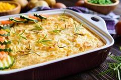 Bolo de carne picado com carne triturada, as batatas trituradas e o vegetal Fotografia de Stock Royalty Free