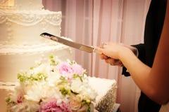 Bolo de casamento bonito aproximadamente a ser cortado Imagem de Stock Royalty Free