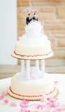 Bolo de casamento para pares alegres Imagem de Stock Royalty Free