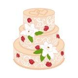 Bolo de casamento com as rosas vermelhas de creme Fotografia de Stock Royalty Free