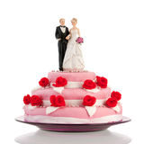 Bolo de casamento com pares Foto de Stock Royalty Free
