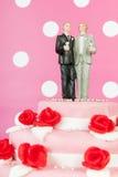 Bolo de casamento com pares alegres Foto de Stock Royalty Free