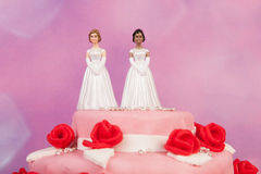 Bolo de casamento com pares lésbicas Fotos de Stock