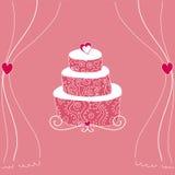 Bolo de casamento cor-de-rosa Fotos de Stock Royalty Free