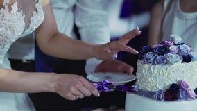 Bolo de casamento da estaca da noiva e do noivo video estoque