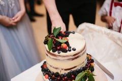 Bolo de casamento doce feito do queque fresco da baga imagem de stock