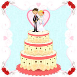 Bolo de casamento romântico Imagens de Stock Royalty Free