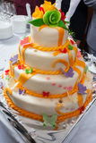 Bolo de casamento saboroso Imagens de Stock