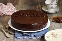 "Bolo de chocolate ""Sacher"", culinária austríaca Foto de Stock Royalty Free"