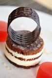 Bolo de chocolate branco elegante imagem de stock