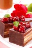 Bolo de chocolate com cereja Fotografia de Stock Royalty Free