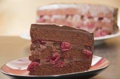 Bolo de chocolate com cerejas Fotos de Stock