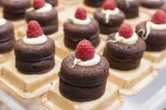 Bolo de chocolate com creme e framboesa Fotos de Stock
