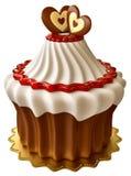 Bolo de chocolate com doce de framboesa e dois corações Fotografia de Stock