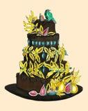 Bolo de chocolate com o ouro decorado com pássaros ilustração royalty free
