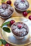 Bolo de chocolate com uma cereja vermelha Imagem de Stock